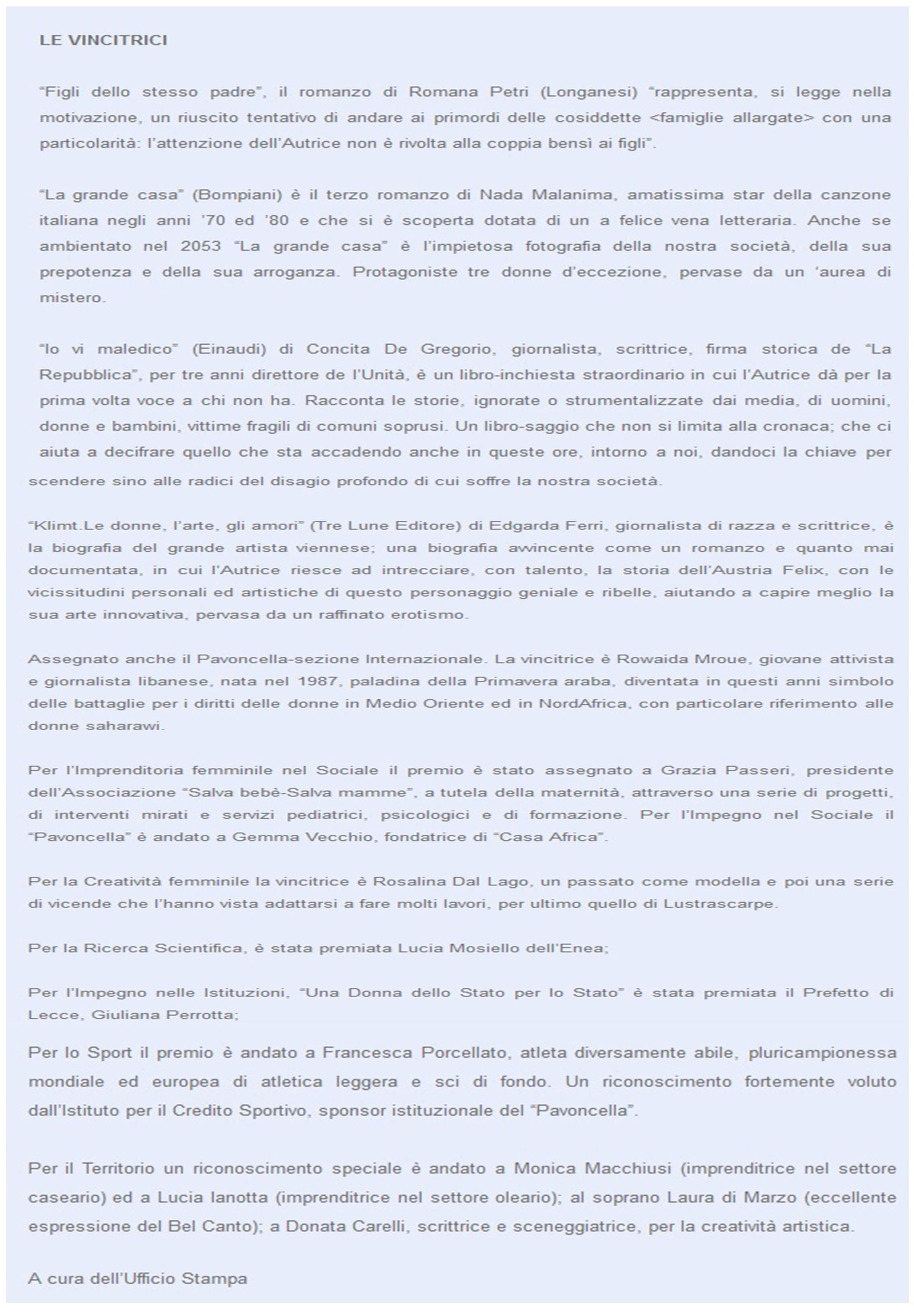 Ufficio Stampa: A cura di Romano Tripodi