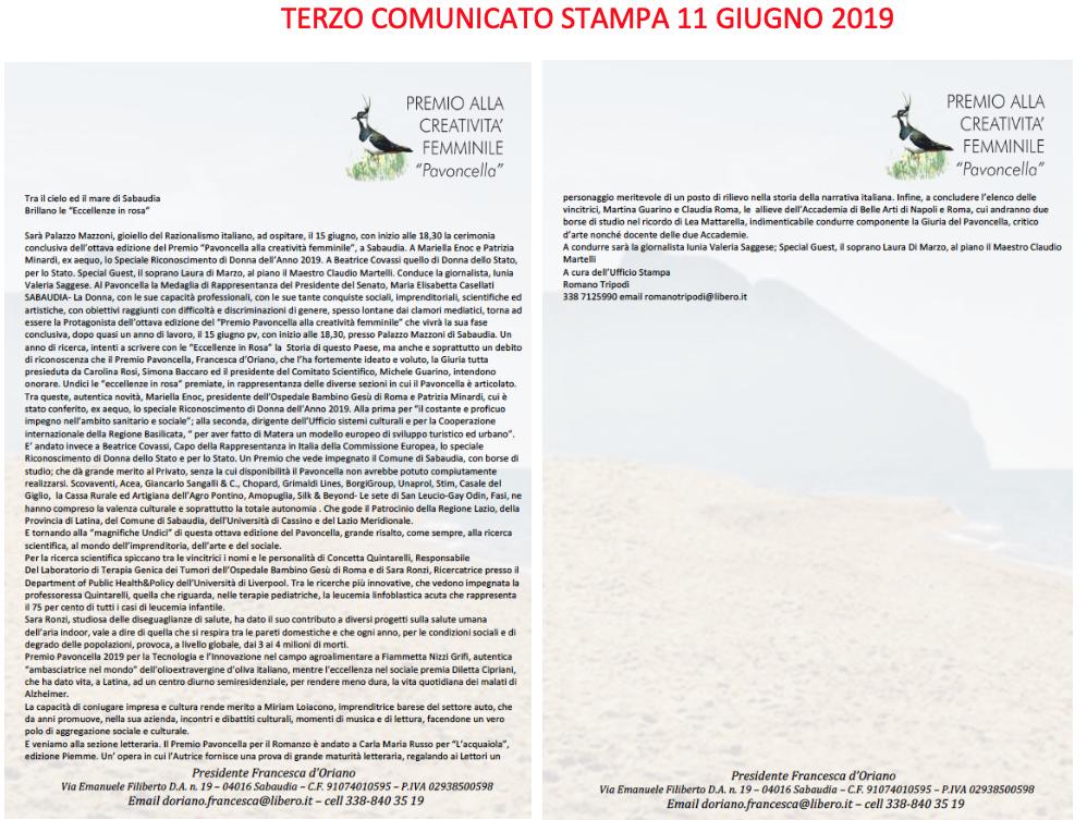 TERZO COMUNICATO STAMPA 11 GIUGNO 2019